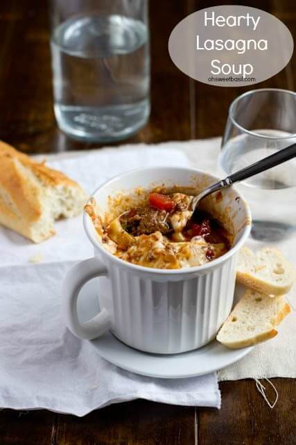 Mama's hearty lasagna soup ohsweetbasil.com