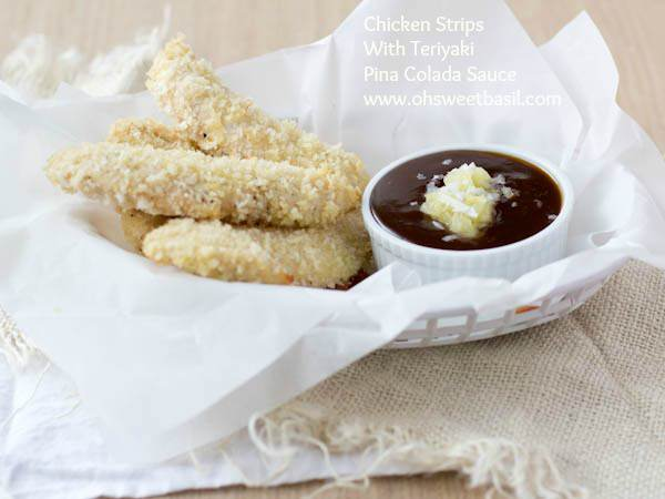 chicken strips with teriyaki pina colada dipping sauce