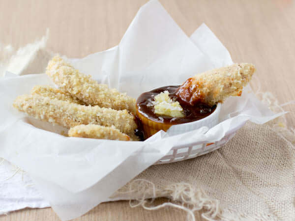 ohsweetbasil.com Chicken Strips with a Teriyaki Pina Colada sauce