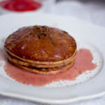 chocolate pancakes with strawberry syrup ohsweetbasil.com