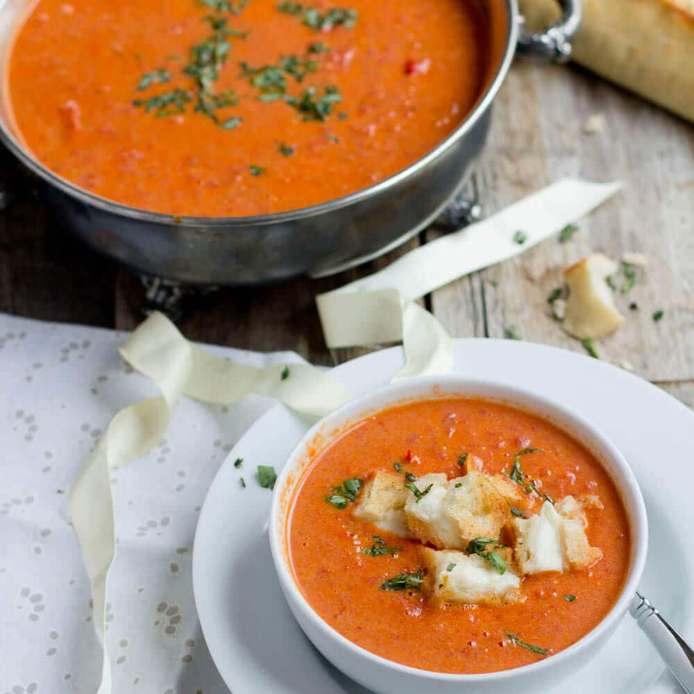 Tomato Soup with Grilled Cheese Croutons-3 - Oh Sweet Basil