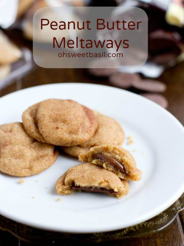 peanut butter meltaway cookies stuffed with chocolate ohsweetbasil.com