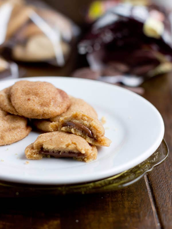 Peanut butter cookies with chocolate center ohsweetbasil.com