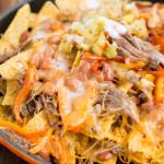 Pork Nachos with Pina Colada Sauce