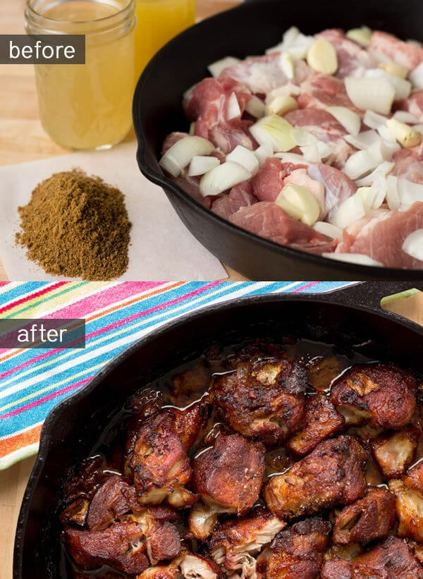 Pork carnitas with pickled red onions ohsweetbasil.com