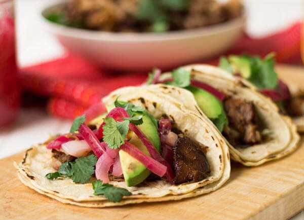 carnitas taco bar ohsweetbasil.com Pork carnitas with pickled red onions ohsweetbasil.com