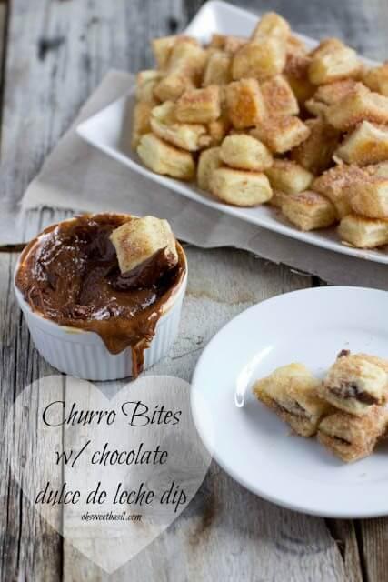 easy churro bites with chocolate dulce de leche dip