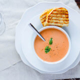 three cheese grilled cheese with cream of tomato soup ohsweetbasil.com
