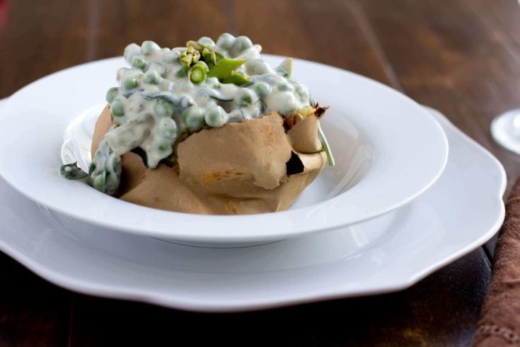 Basil Primavera Stuffed Potato