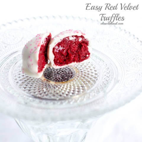 Red velvet truffles with only three ingredients ohsweetbasil.com Pink dessert, Valentine's dessert recipe