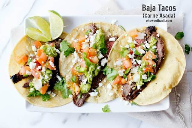 carne asada tacos with marinated flank steak ohsweetbasil.com