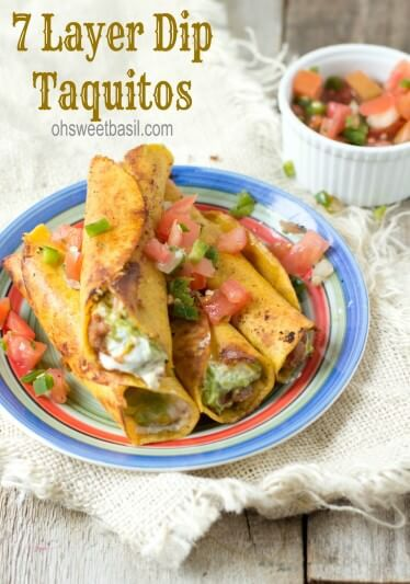 #7layerdip taquitos are stuffed with beans, sour cream, guacamole, and cheese and then fried to perfection and served with fresh pico de gallo. #marchmadness ohsweetbasil.com
