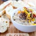 So Cal Fajita Steak #Dip that's bursting with flavorful steak, sauteed peppers and gooey cheese that's perfect for #marchmadness ohsweetbasil.com