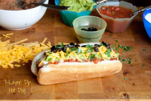 Seven Layer Dip Hot Dog-ohsweetbasil.com
