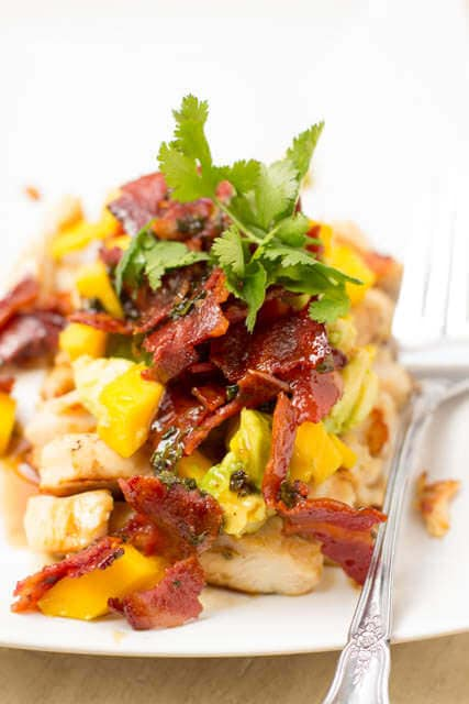 Warm Bacon dressing with grilled chicken and avocado mango salsa #healthy #countdowntoabetteryou ohsweetbasil.com