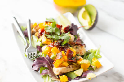 Warm Bacon dressing with grilled chicken and avocado mango salsa #healthy #countdowntoabetteryou ohsweetbasil.com-6