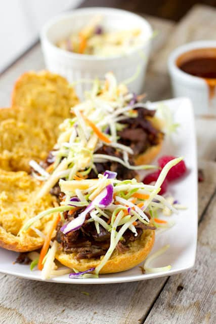 #driscolls Raspberry #BBQ Sliders with tender, juicy shredded beef served on delicious #Alexia Sweet Potato Rolls ohsweetbasil.com