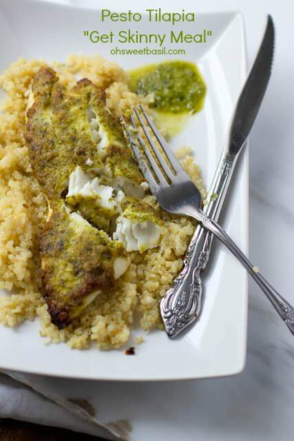 "healthy pesto tilapia ""get skinny meal"" ohsweetbasil.com"
