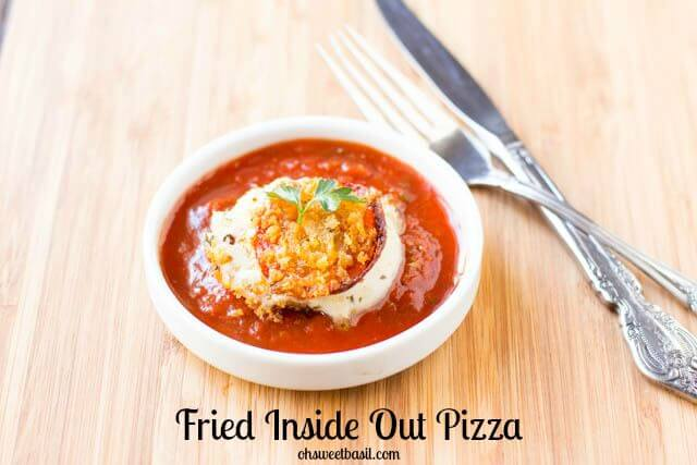 Inside Out #Pizza, or in other words, the best danged fried mozzarella you will ever have. Oh. My. Deliciousness!! ohsweetbasil.com