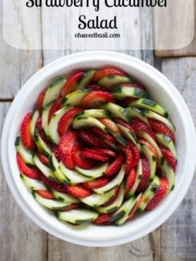 Strawberry Cucumber Salad with a light honey balsamic dressing that's perfect for warm summery nights ohsweetbasil.com