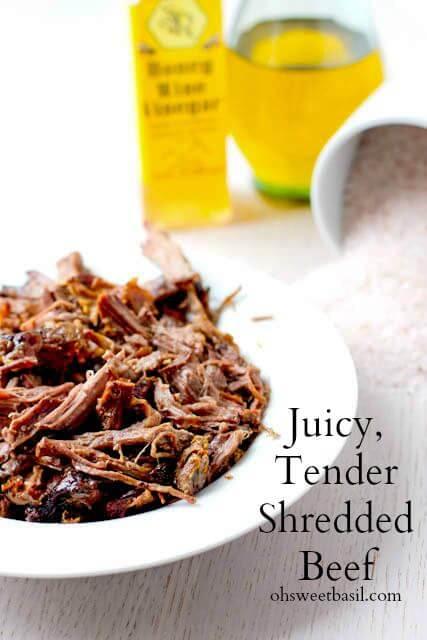 Tender, juicy shredded beef that takes only #3 #ingredients ohsweetbasil.com-2