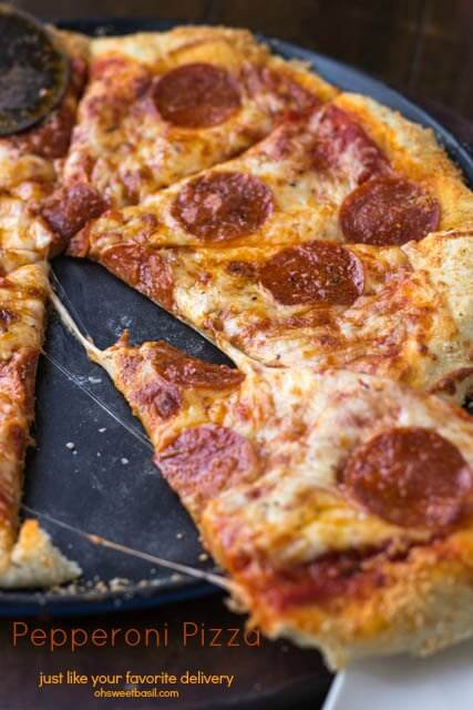 Want the perfect recipe for pepperoni Pizza that tastes as good as your favorite takeout or delivery ohsweetbasil.com