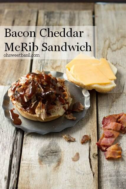 BBQ Rib Sandwiches with crispy bacon and cheddar cheese. Perfect for BBQ leftovers ohsweetbasil.com