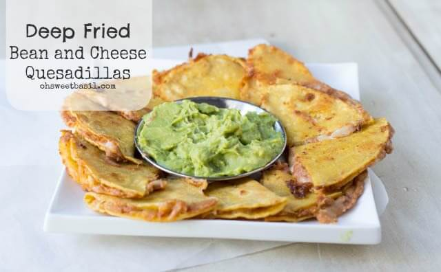 Deep Fried Spicy Bean and Cheese Quesadillas with fresh guacamole for the perfect #superbowl snack ohsweetbasil.com
