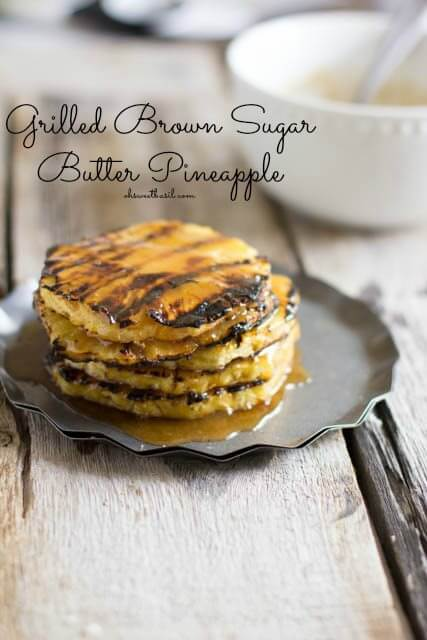 Grilled Pineapple with brown sugar butter. Perfection all summer long with only 3 ingredients ohsweetbasil.com_