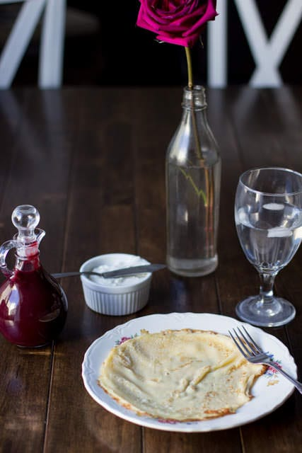 Marionberry Strawberry Syrup served over the most delicious cream filled crepes. #Breakfast at our house is amazing. ohsweetbasil.com_-2