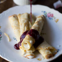 Marionberry Strawberry Syrup served over the most delicious cream filled crepes. #Breakfast at our house is amazing. ohsweetbasil.com_-3