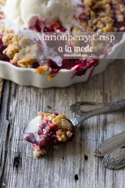 Marionberry Crisp is one of the best summertime desserts. Especially with a little cinnamon that will have guests guessing what the secret ingredient is.