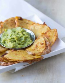 Spicy Bean and Cheese Quesadillas with fresh guacamole for the perfect superbowl snack ohsweetbasil.com