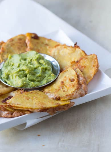 Spicy Bean and Cheese Quesadillas with fresh guacamole for the perfect #superbowl appetizer ohsweetbasil.com_-2