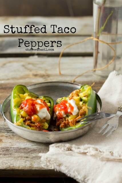 One of the summertime favorites are these stuffed taco peppers loaded with meat, sauce and cheese all over flowing with deliciousness. Make these tonight!