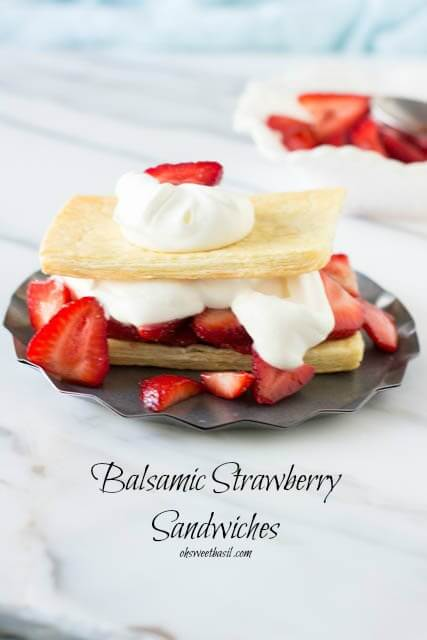 Sweet Balsamic Strawberries on buttery, flaky puff pastry and fresh whipped cream on top ohsweetbasil.com