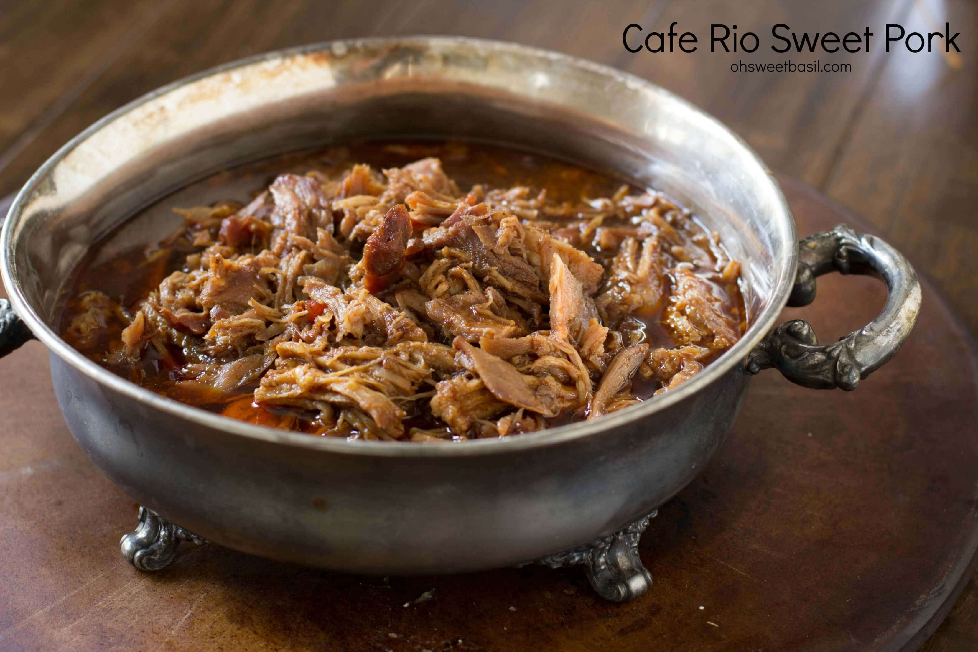 Sweet Pork made with old elpaso sauce, brown sugar and root beer. Your kids will be begging for more! ohsweetbasil.com_