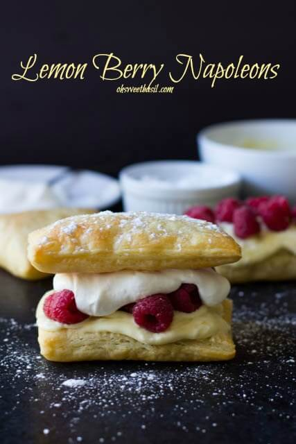 Is there anything more delicious than #lemoncurd, #raspberries and puff pastry- We could not stop eating this stuff! Lemon Raspberry Napoleons are seriously to die for! ohsweetbasil.com_-4