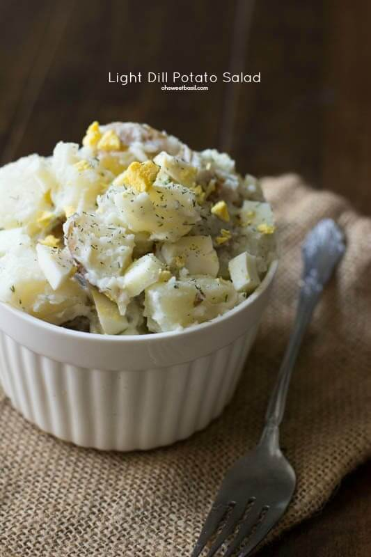 Dill Potato Salad that has less of a mayo-y taste and more flavor! Perfect for #pioneerday ohsweetbasil.com_-2
