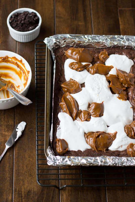 dulce de leche fluff brownies from bhg.com ohsweetbasil.com