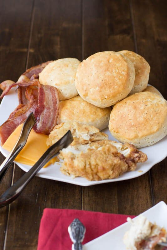 jimmy dean sausage gravy biscuits with fried chicken and bacon ohsweetbasil.com_-6