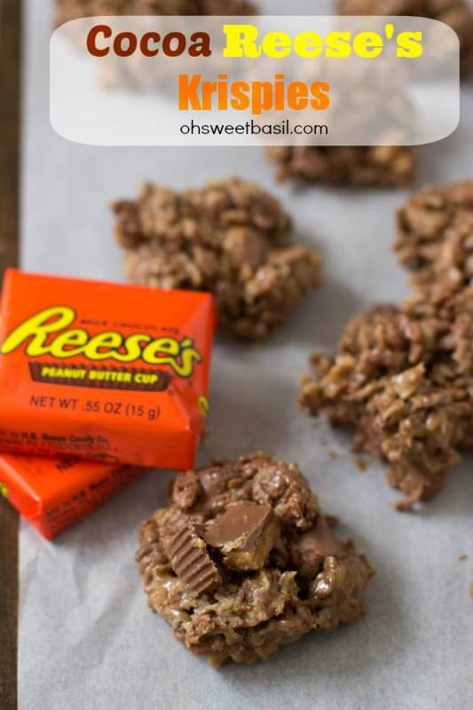 Cocoa Krispies loaded with sticky peanut butter, chocolate and nuggets of delicious #Reese's peanut butter cups ohsweetbasil.com_-4