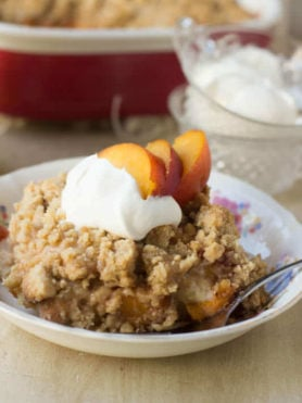 Everyone loves fresh #peachcobbler, but turn it into #breakfast-! Seriously, it's the perfect way to start out the school year! ohsweetbasil.com #recipe-9