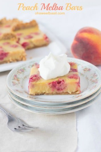 We love #peaches and raspberries in a peach melba #dessert so heck yes we loved the bars!! Creamy peach and raspberry deliciousness on a graham cracker crust ohsweetbasil.com-3