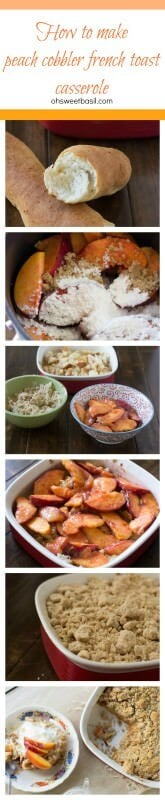 Everyone loves fresh #peachcobbler, but turn it into #breakfast-! Seriously, it's the perfect way to start out the school year! ohsweetbasil.com Peach Cobbler French Toast Casserole