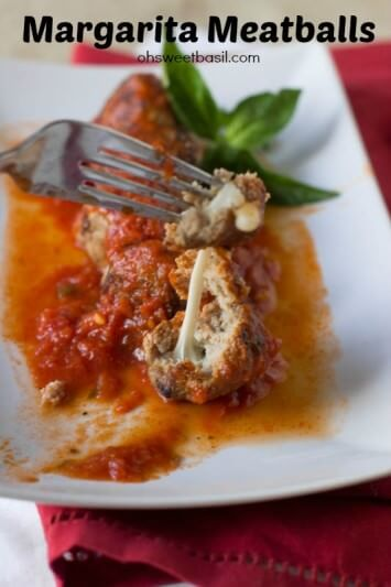 Want an #easy and #healthy #dinner #recipe- We adore these super fast turkey #meatballs stuffed with mozzarella and covered in fresh marinara ohsweetbasil.com