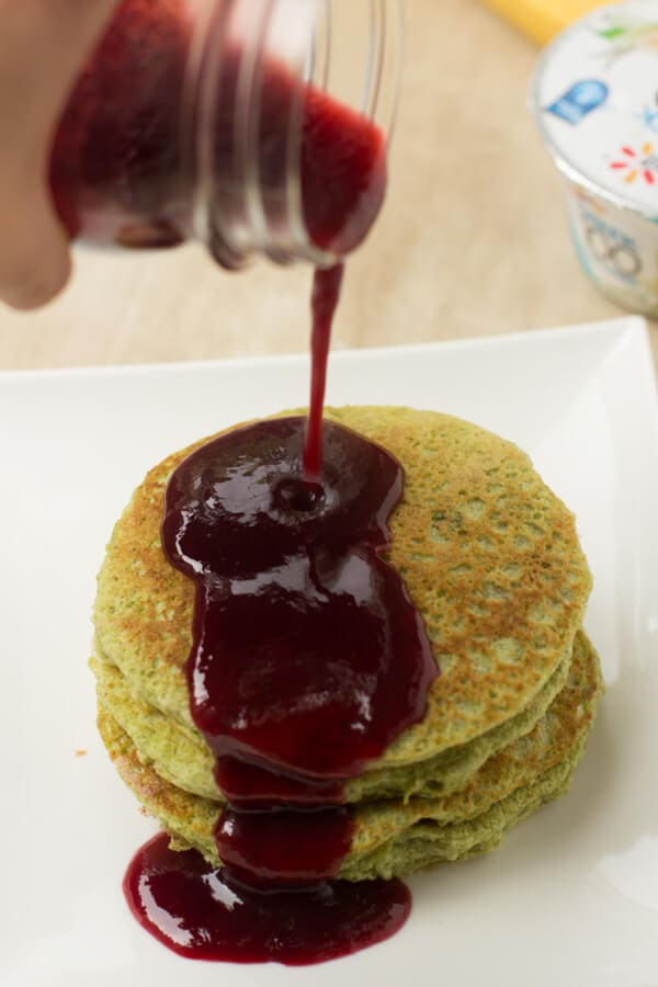 Approaching Halloween and I've been serving up these delicious (and secretely healthy) green monster pancakes that the kids love! ohsweetbasil.com-2