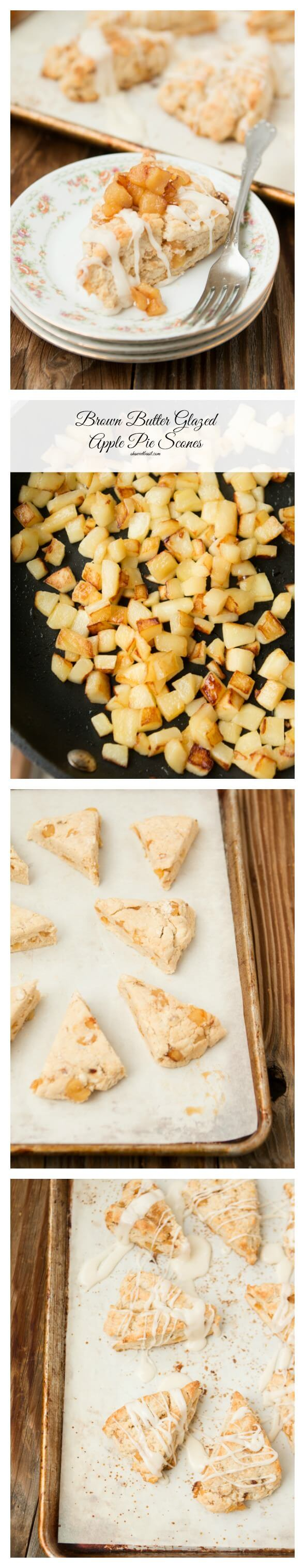 Brown butter glazed apple pie scones ohsweetbasil.com.