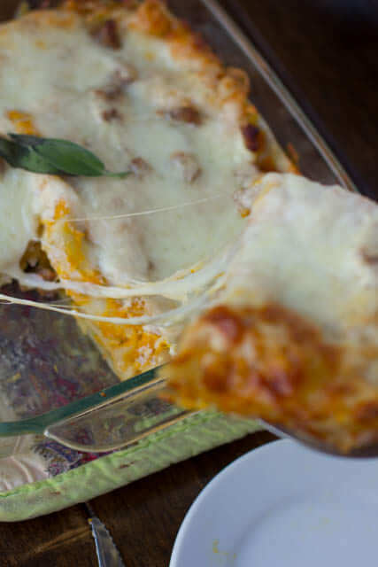 Butternut squash lasagna with maple sage sausage and a secret ingredient with fresh sage and a secret ingredient that's not so savory. wohsweetbasil.com