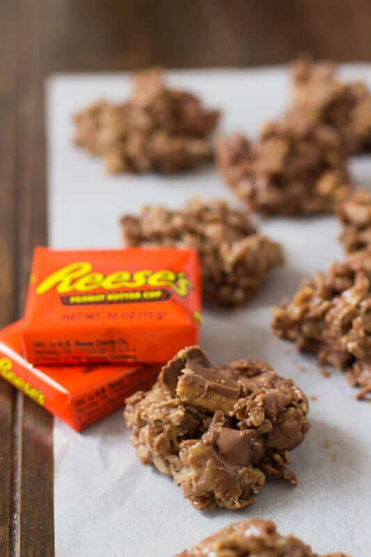 Cocoa Krispies loaded with sticky peanut butter, melty chocolate and nuggets of delicious #Reese's peanut butter cups ohsweetbasil.com_-5